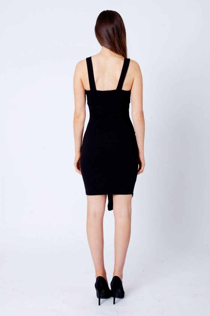 Black Button Detail Strappy Bodycon Dress