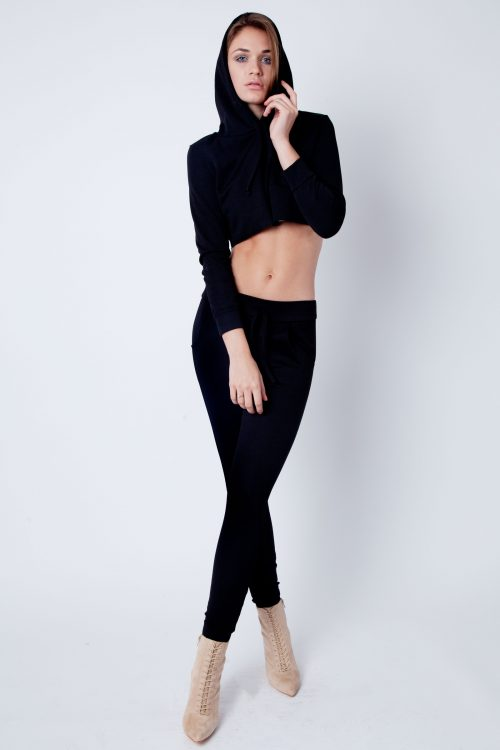 Black Cropped Loungewear Set