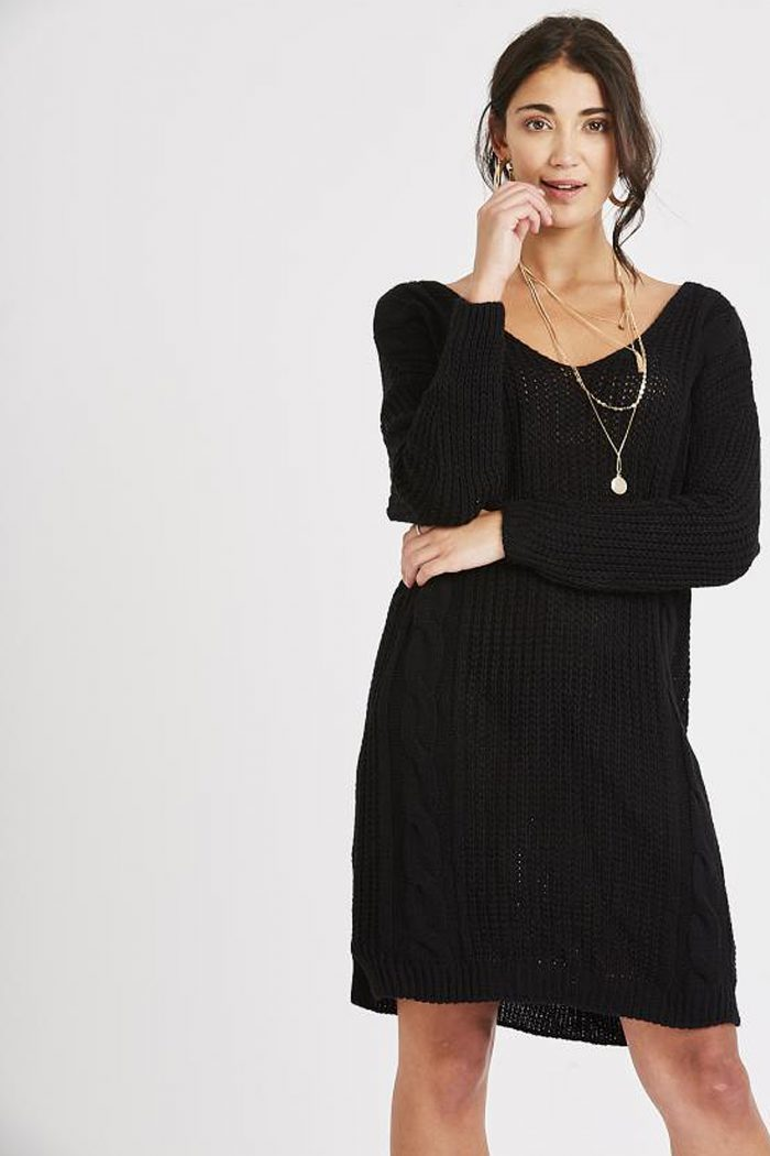 Black Cross Back Chunky Cable Knit Jumper Dress