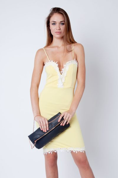 Lemon Yellow Lace Detail Strappy Bodycon Dress