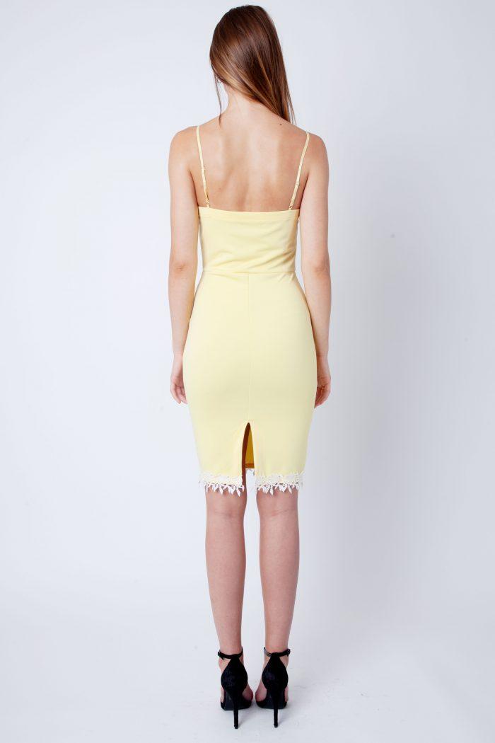 Lemon Yellow Lace Detail Strappy Bodycon Dress
