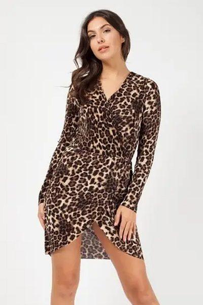 Leopard Print Pleated Wrap Mini Skater Dress