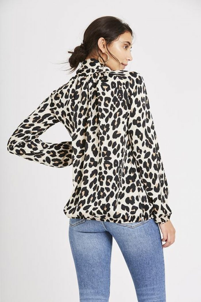 Leopard print pussy bow blouse