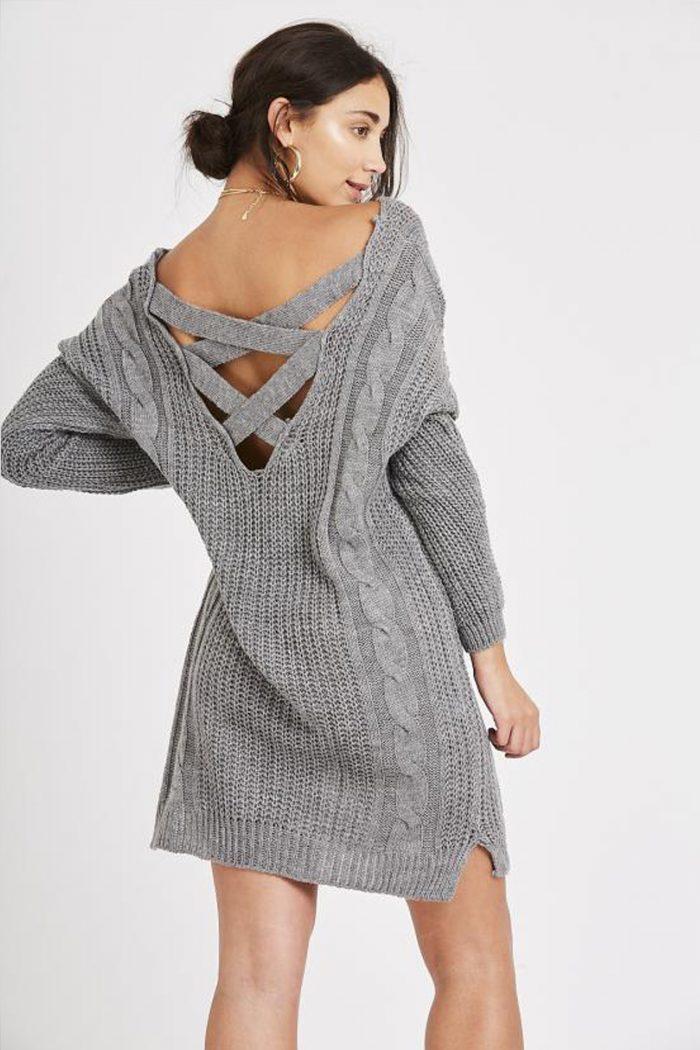 Light Grey Cross Back Chunky Cable Knit Jumper Dress