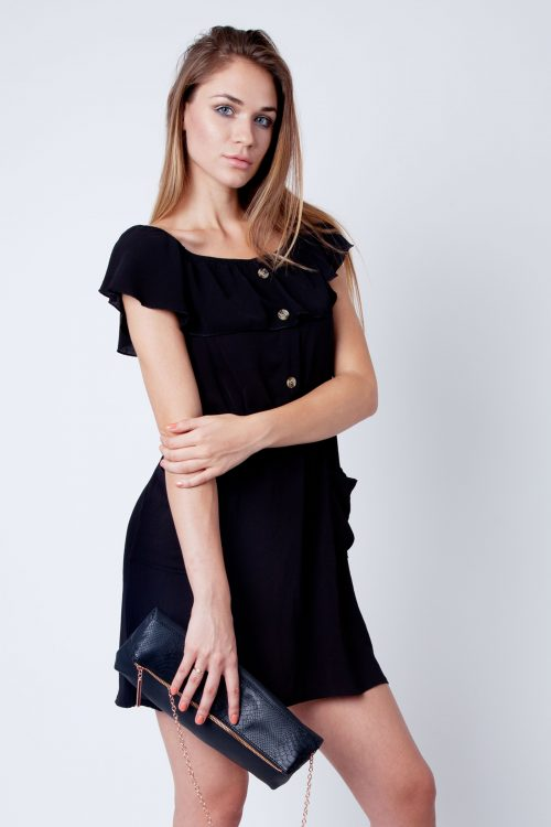 Maia Black Frill Bardot Button Dress