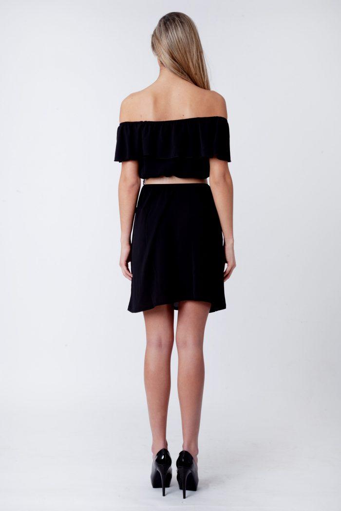 Maia Black Frill Bardot Button Dress