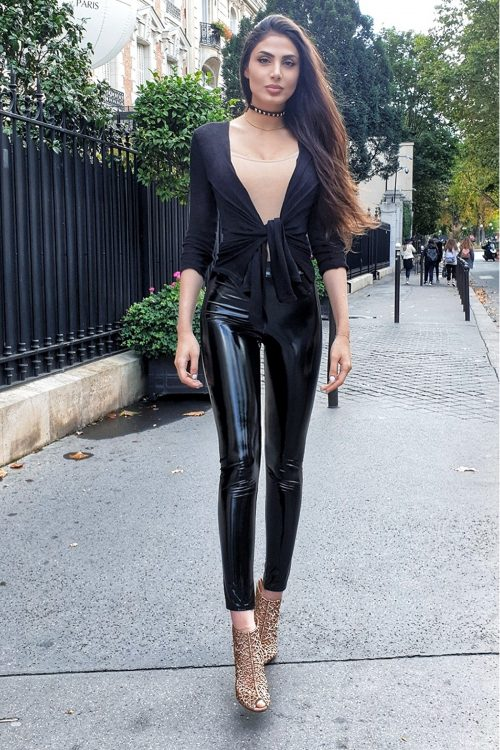 Black Wet Look Shiny Vinyl PU Leggings