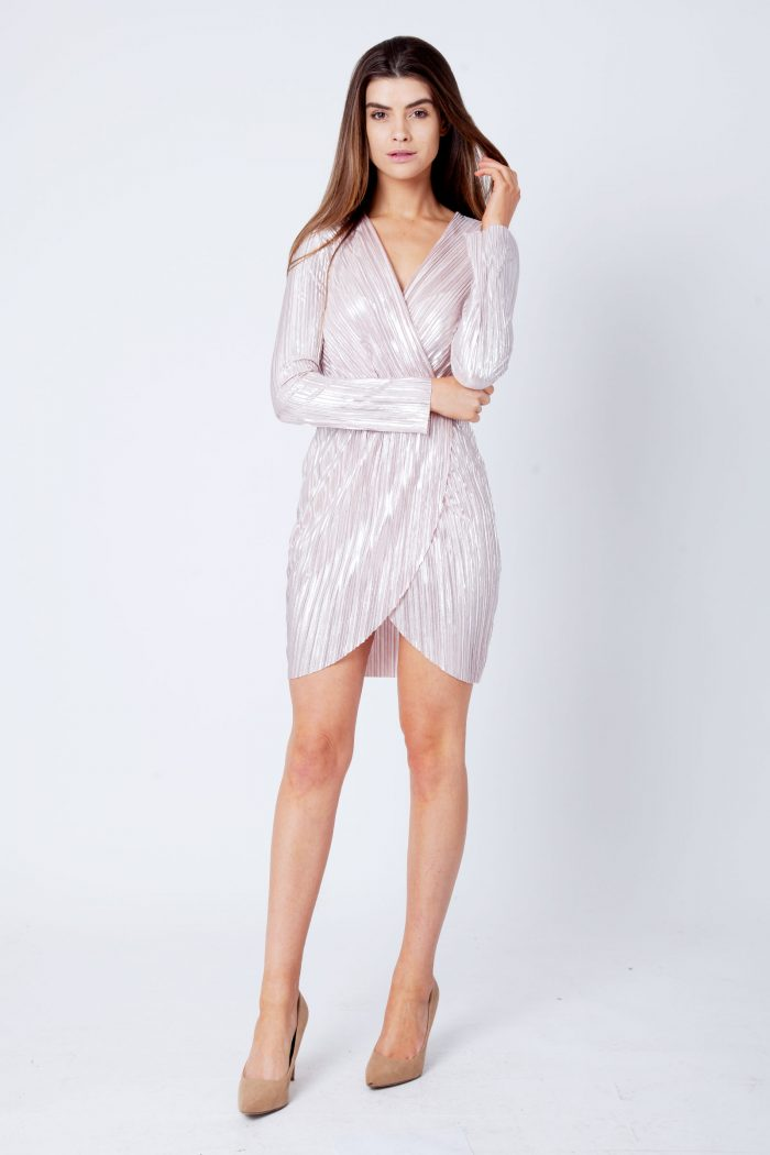 Rose Metallic Wrap Over Mini Dress