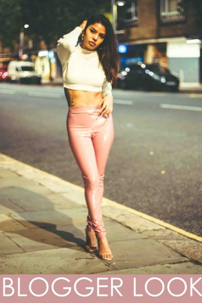 Rose Pink Wet Look Shiny Vinyl PU Leggings
