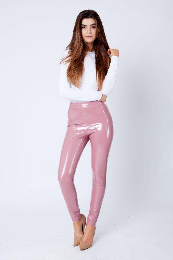 Rose Pink Wet Look Shiny Vinyl PU Leggings