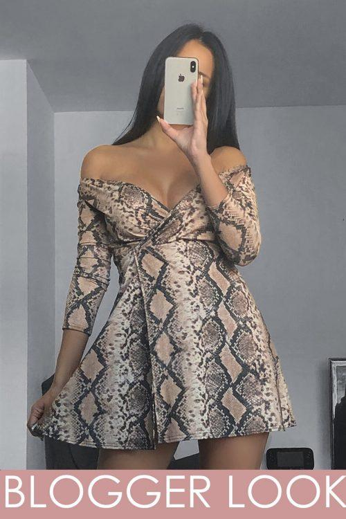 Snake Print Lurex Glitter Wrap Skater Dress