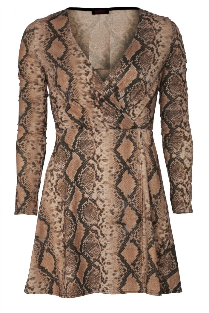 Snake Print Lurex Glitter Wrap Skater Dress