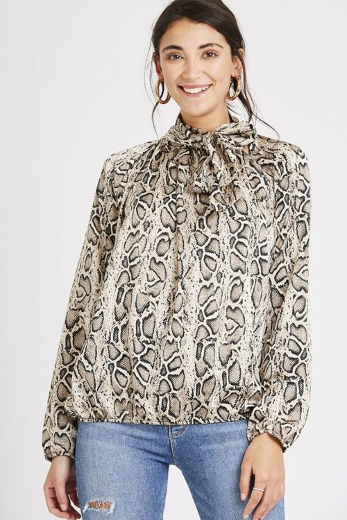 Snake Print Pussy Bow Blouse