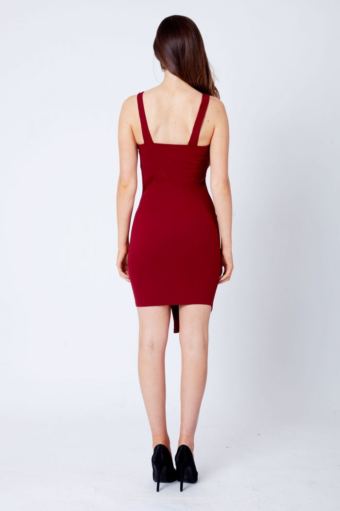 Wine Burgundy Button Detail Strappy Bodycon Dress