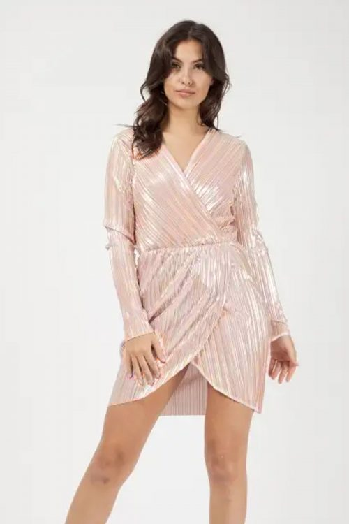 Rose Metallic Wrap Over Mini Dress