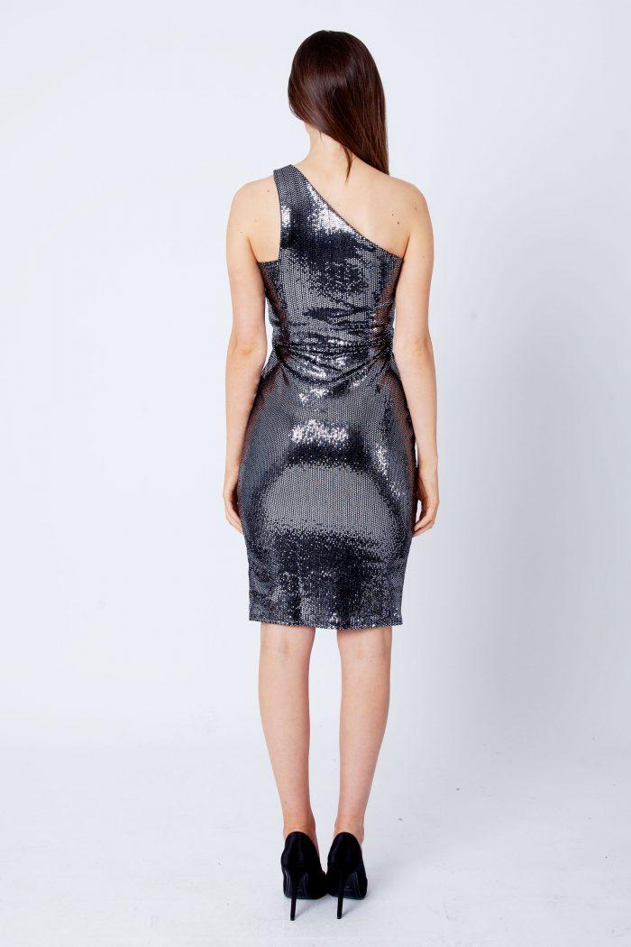 Ada Silver Mirror Sequin One Shoulder Bodycon Dress