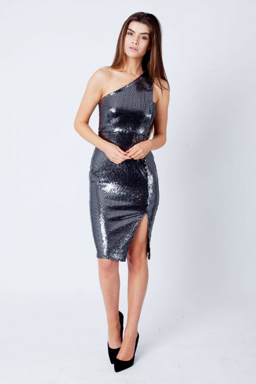 Ada Silver Mirror Sequin One Shoulder Bodycon Dress
