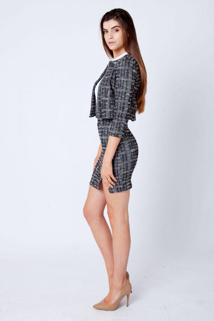 Betty Black Boucle Tweed Collarless Blazer