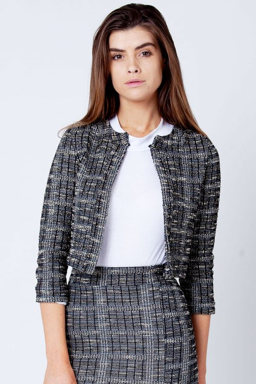Betty Black Boucle Tweed Collarless Blazer