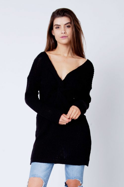 Black Twist Knot Knitted Jumper Dress