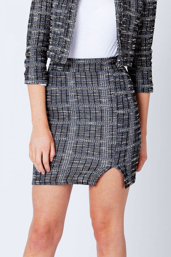 Calia Black Boucle Tweed Mini Skirt