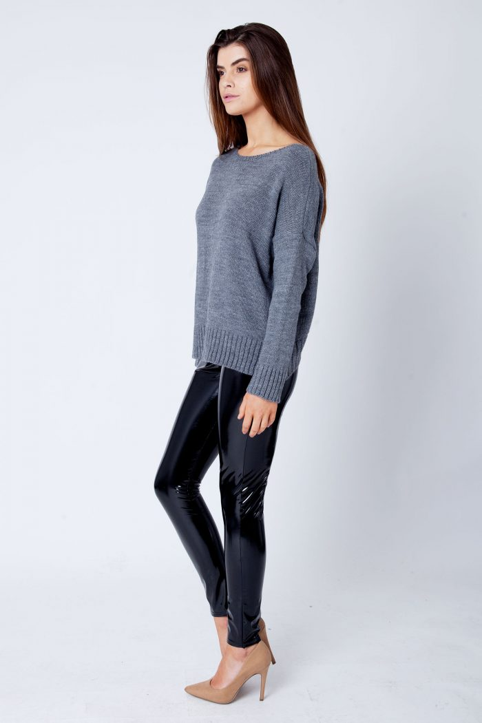 Charcoal Open Tie Back Baggy Knitted Jumper Sweater Top