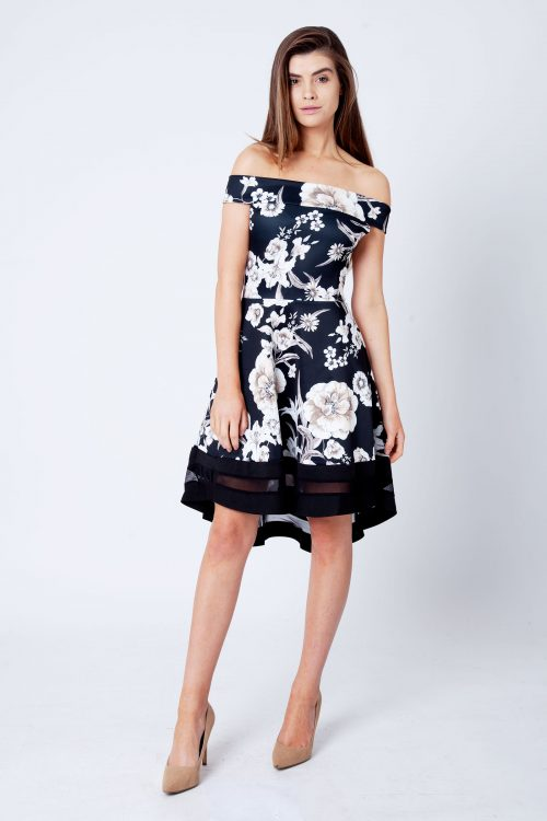 Clara Black And Cream Floral Print Bardot Skater Dress
