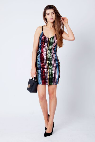 Eva Rainbow Sequin Strappy Mini Dress