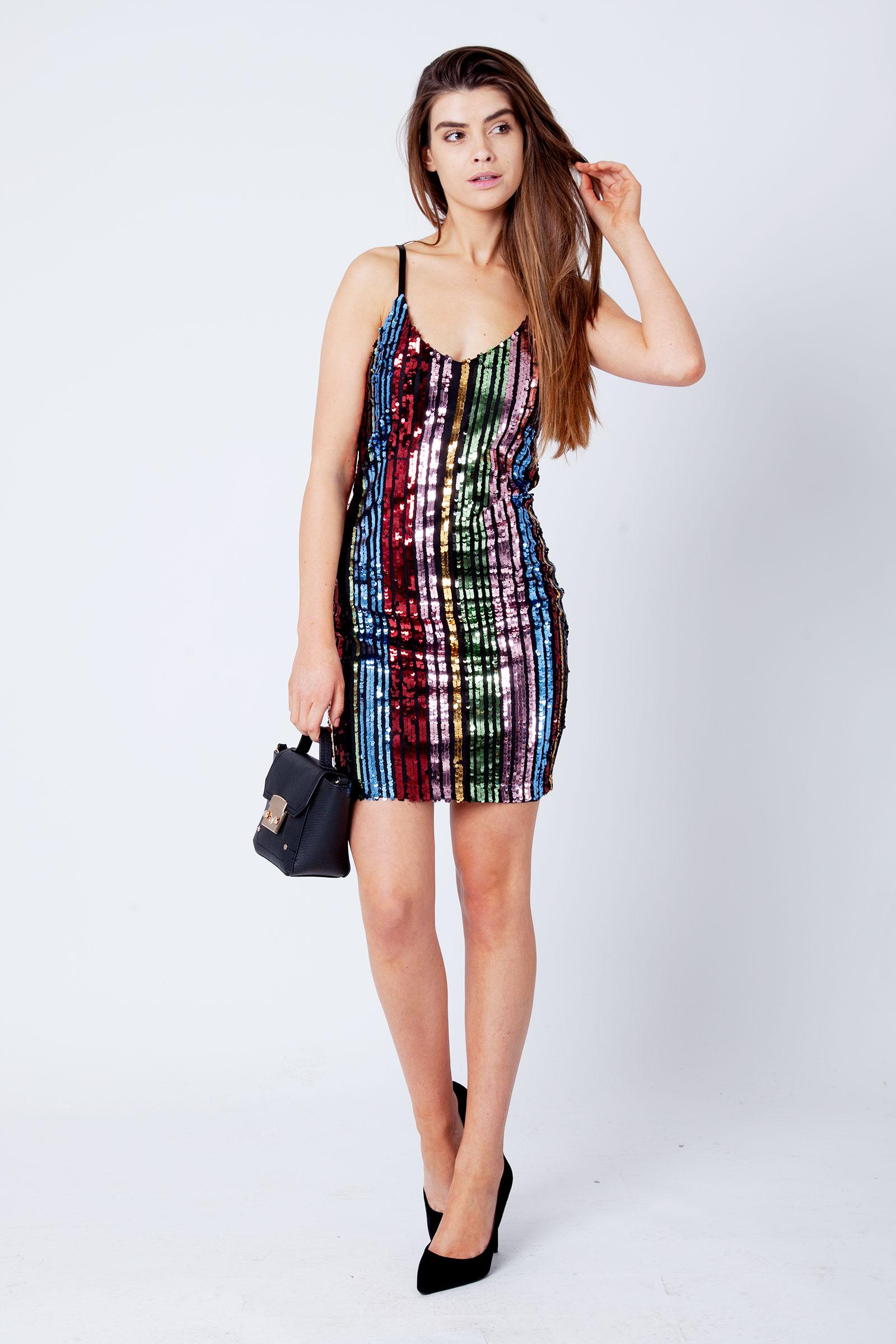 cca2d2c39 Eva Rainbow Sequin Strappy Mini Dress | Modamore