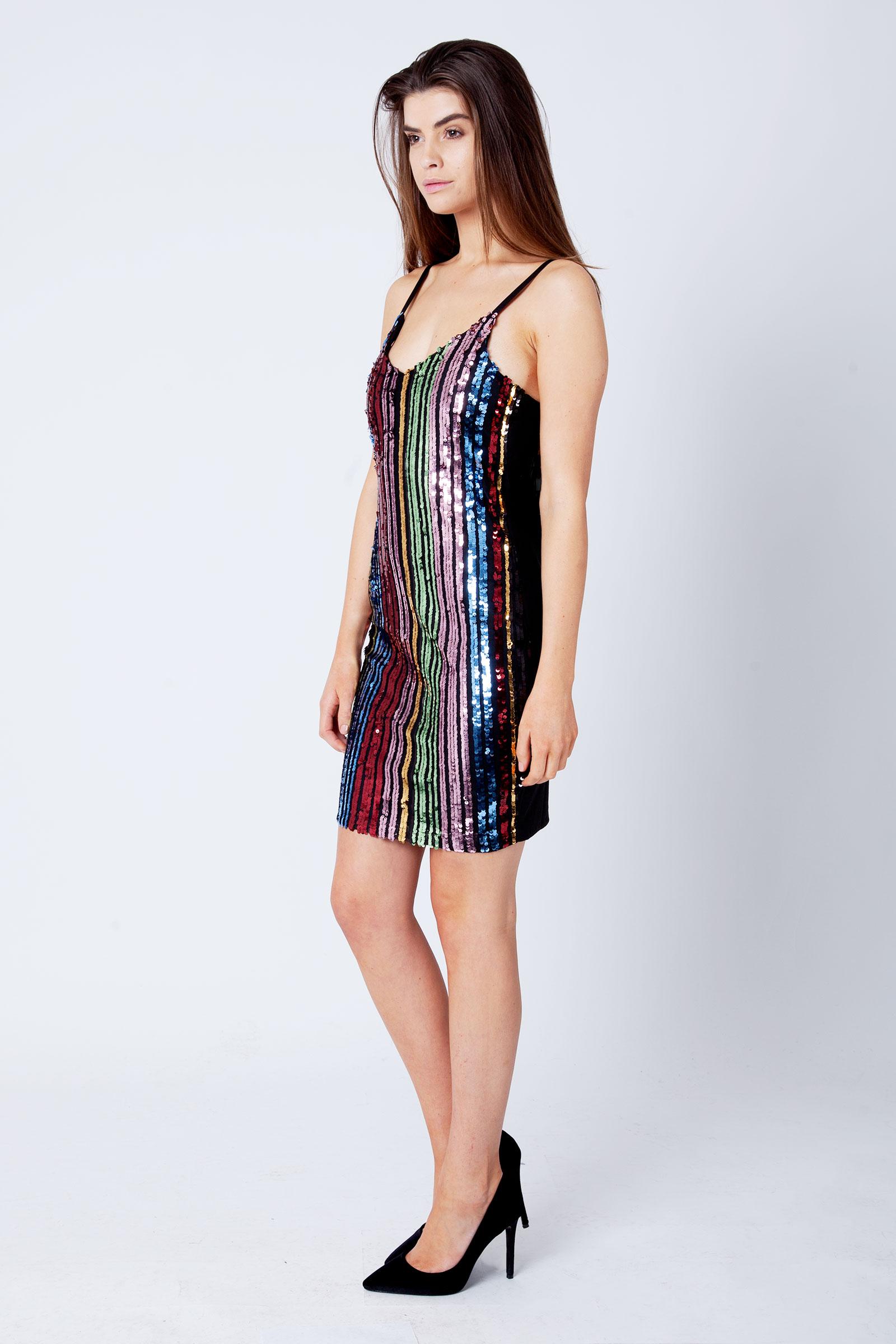 Eva Rainbow Sequin Strappy Mini Dress Modamore