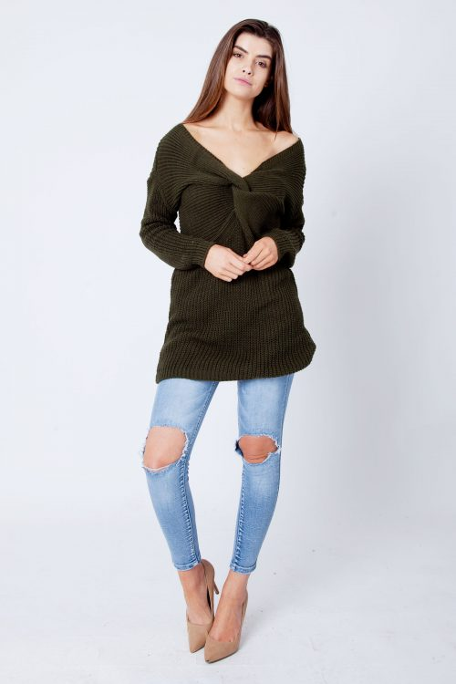 Khaki Twist Knot Knitted Jumper Dress
