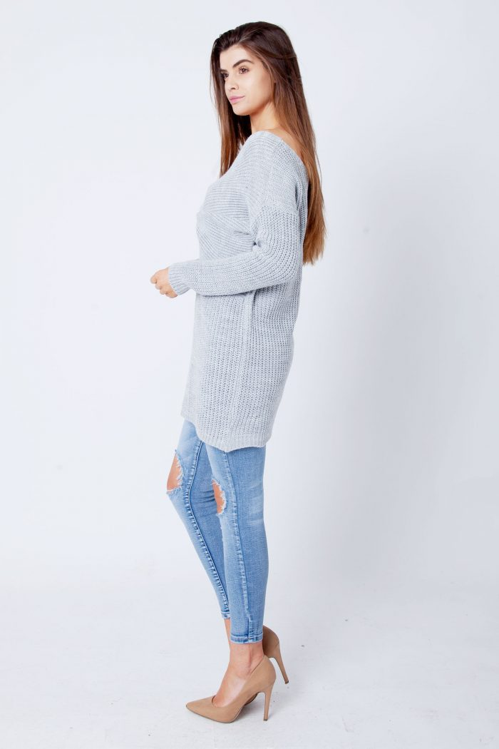 Light Grey Twist Knot Knitted Jumper Dress