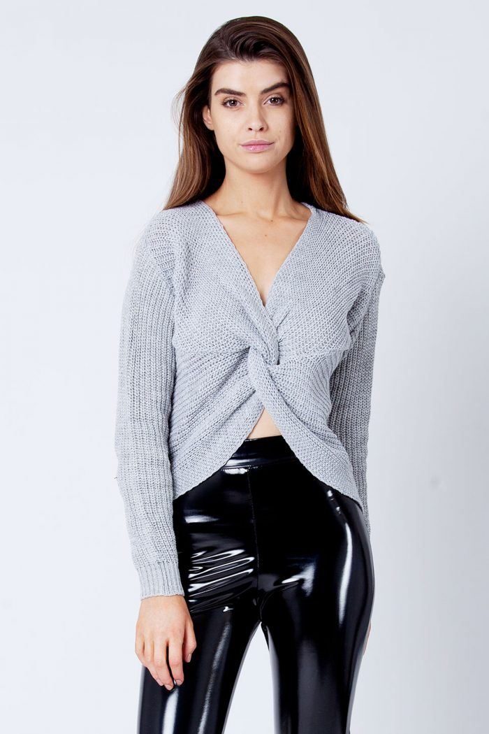 Light Grey Twist Knot Reversible Knitted Jumper Sweater Top