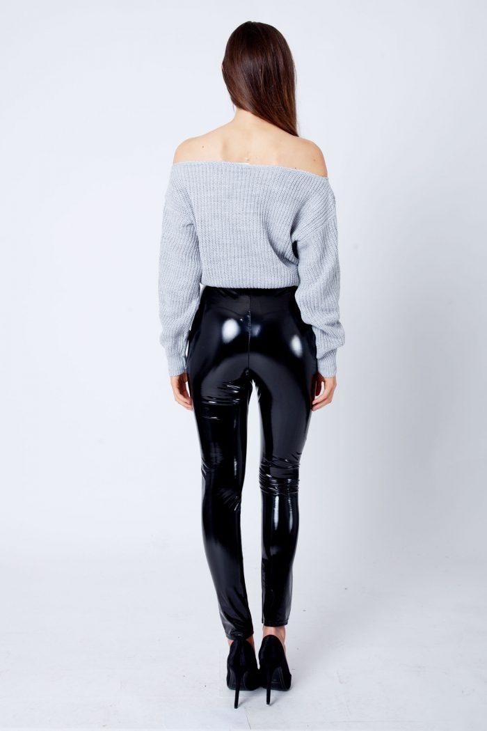 Millie Light Grey Bardot Knitted Jumper