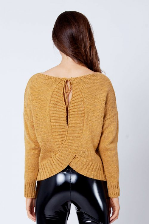 Mustard Open Tie Back Baggy Knitted Jumper Sweater Top