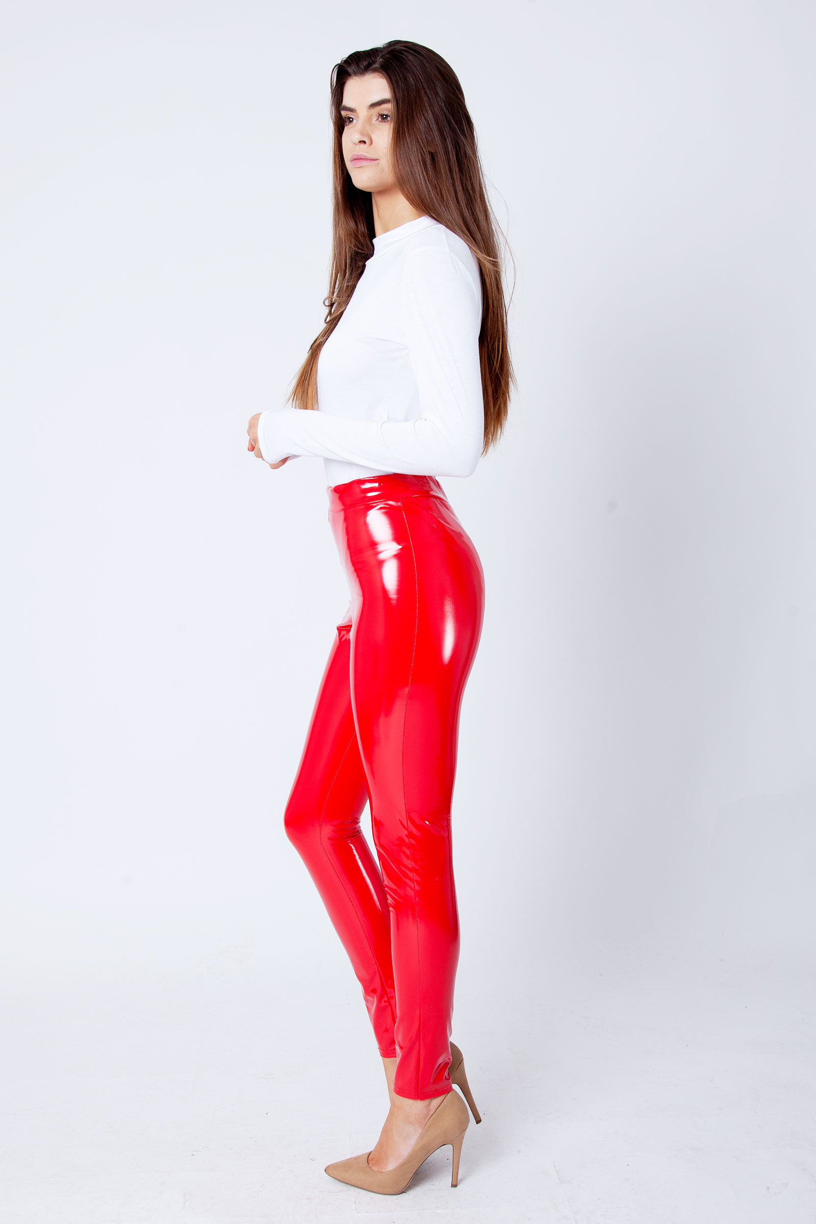 2a89578c3fd Red Wet Look Shiny Vinyl PU Leggings