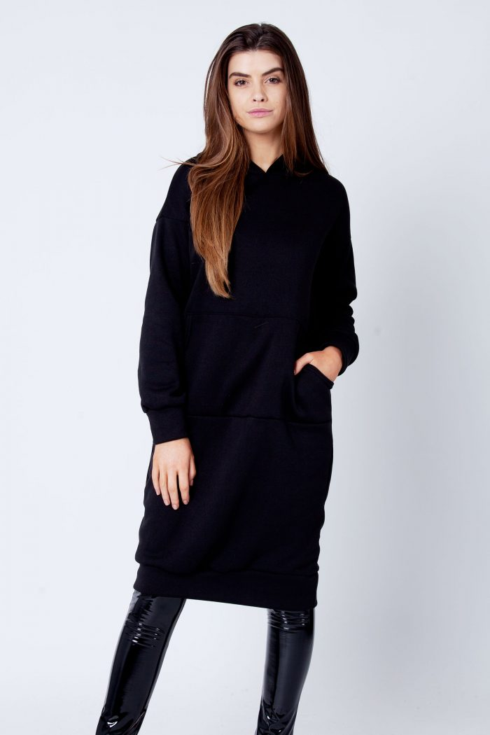 Talise Black Oversized Fleece Hoodie Sweat Midi Dress