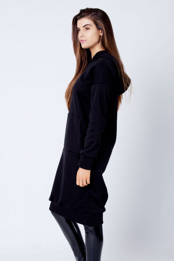 Talise Black Oversized Hoodie Sweat Midi Dress