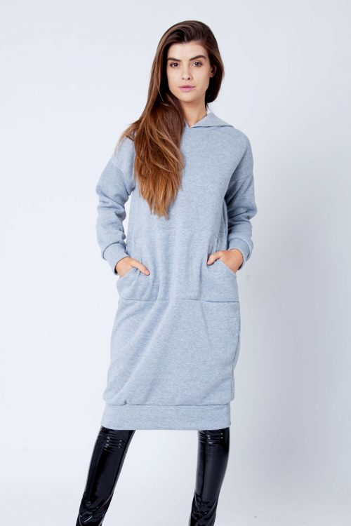 Talise Light Grey Oversized Fleece Hoodie Sweat Midi Dress