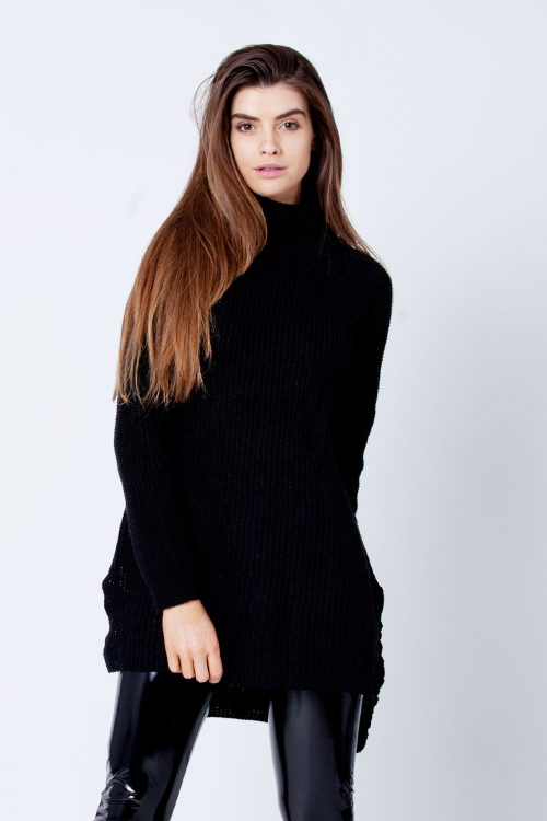 Valentina Black Thick Cable Knit High Neck Jumper