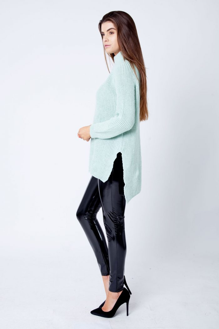 Valentina Mint Thick Cable Knit High Neck Jumper
