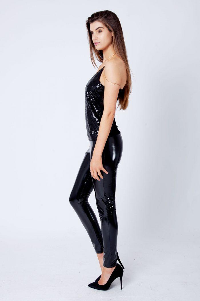 Yana Black Sequin Chain Strap Top