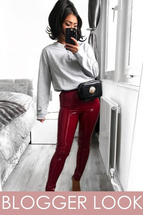 Burgundy Wine Wet Look Shiny Vinyl PU Leggings