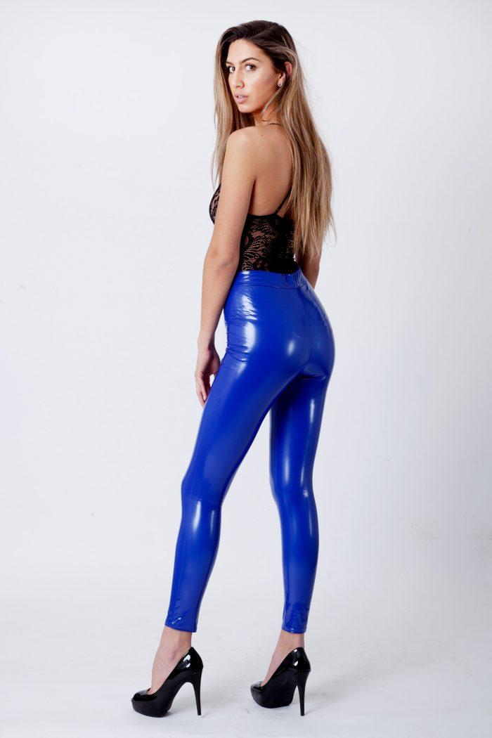 Royal Blue Wet Look Shiny Vinyl PU Leggings