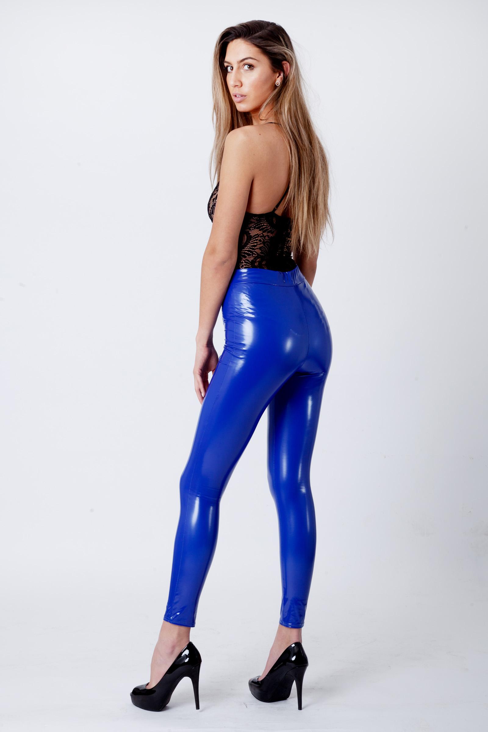 Royal Blue Wet Look Shiny Vinyl PU Leggings   Fashion