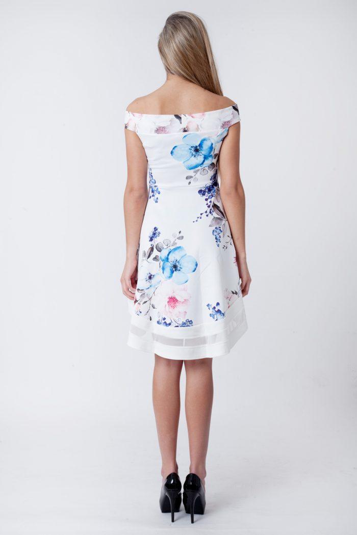 Cream Floral Bardot Dip Mesh Hem Dress