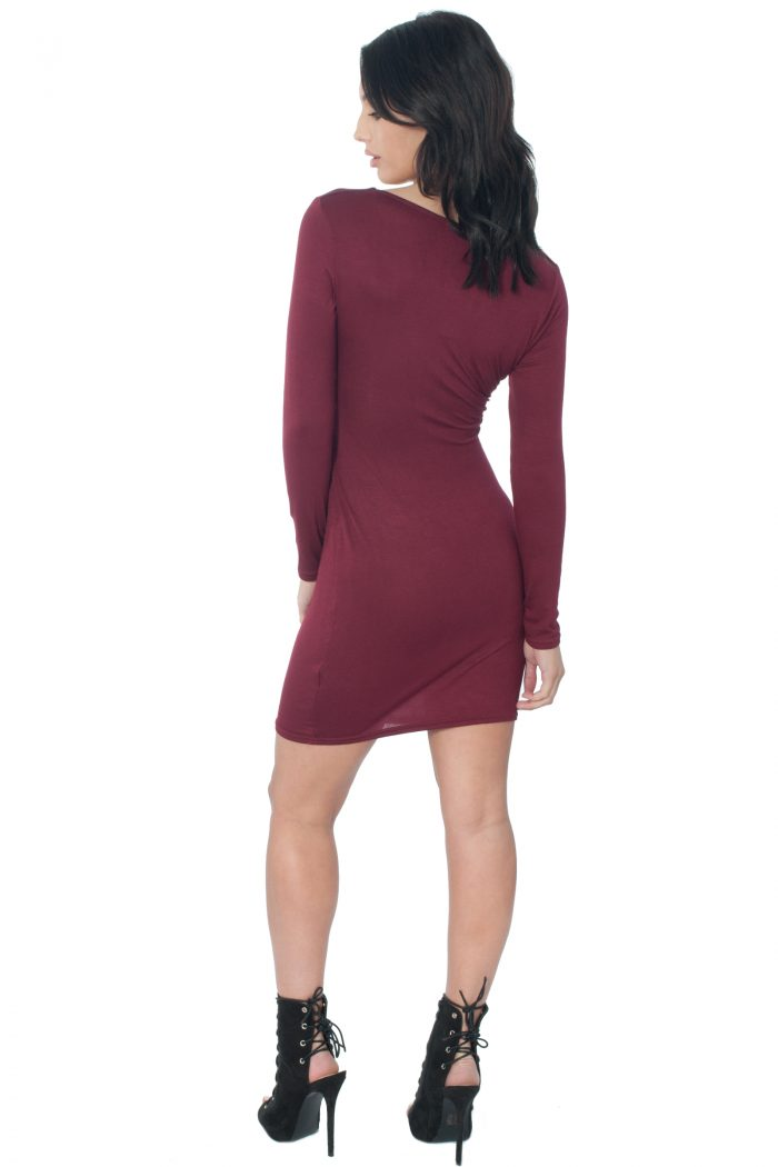 Wine Cut Out Bodycon Dress
