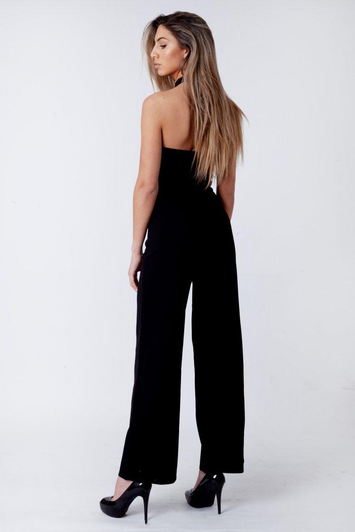Black Halterneck Sleeveless Jumpsuit