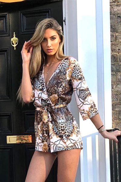 Bryna Pink Satin Leopard Chain Print Belted Playsuit