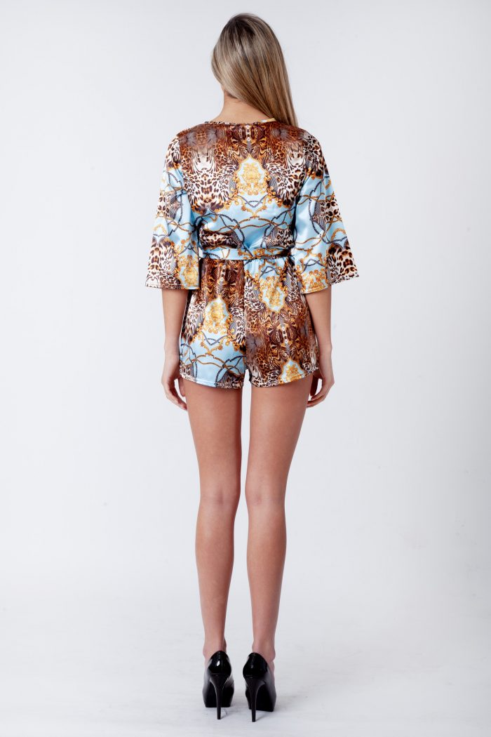 Bryna Sky Blue Satin Leopard Chain Print Belted Playsuit